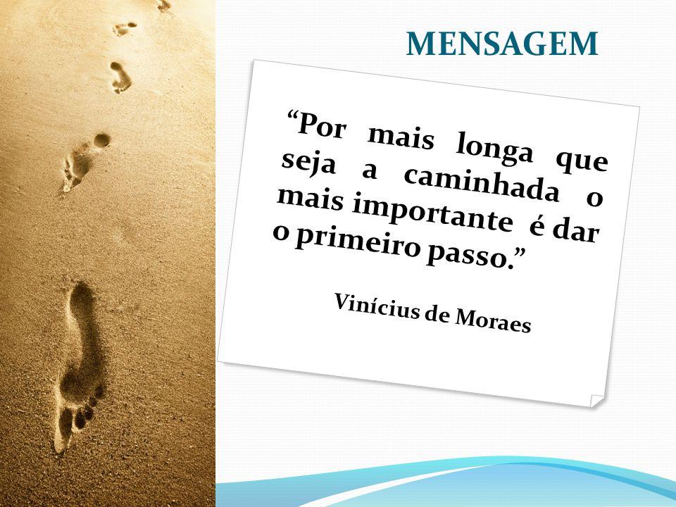 MENSAGEM Por mais longa que seja a caminhada o mais importante é dar o primeiro passo. Vinícius de Moraes.