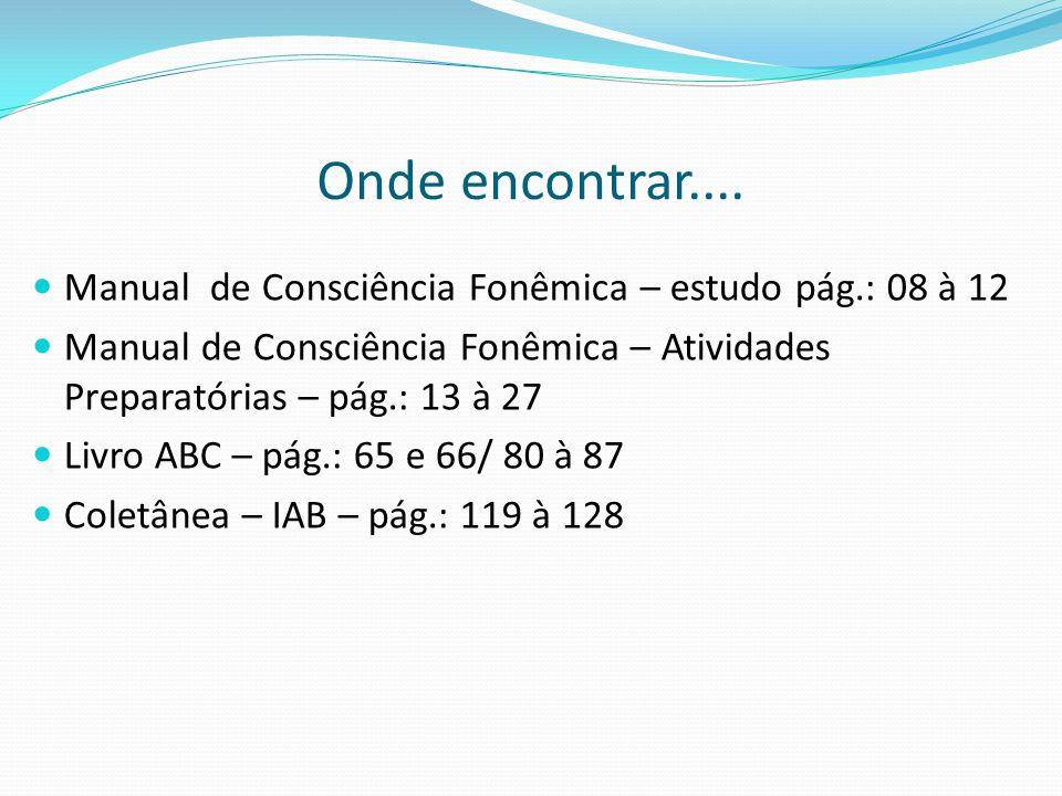 Onde encontrar.... Manual de Consciência Fonêmica – estudo pág.: 08 à 12. Manual de Consciência Fonêmica – Atividades Preparatórias – pág.: 13 à 27.