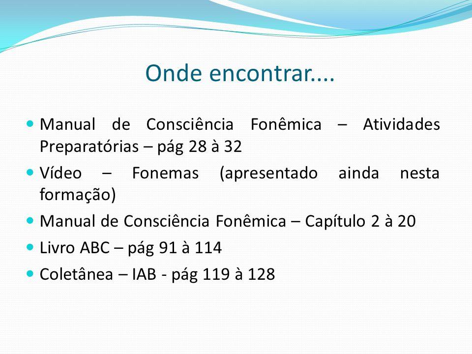 Onde encontrar.... Manual de Consciência Fonêmica – Atividades Preparatórias – pág 28 à 32. Vídeo – Fonemas (apresentado ainda nesta formação)