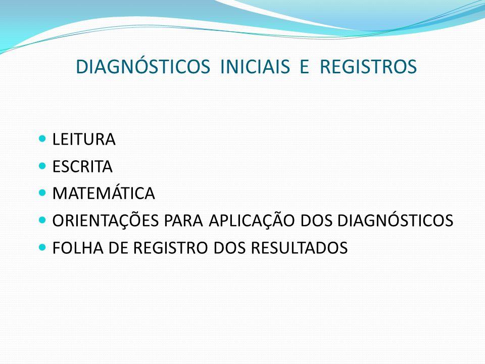 DIAGNÓSTICOS INICIAIS E REGISTROS