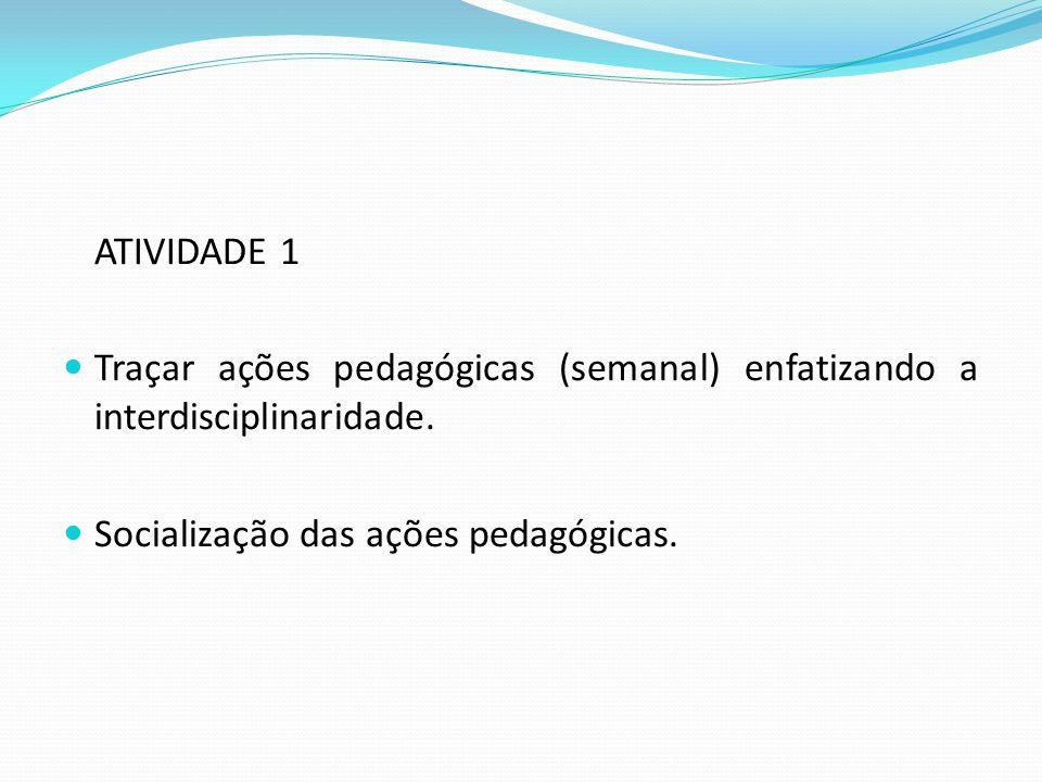 ATIVIDADE 1 Traçar ações pedagógicas (semanal) enfatizando a interdisciplinaridade.
