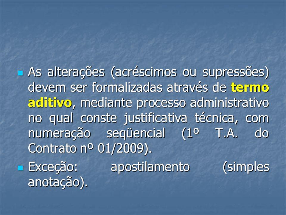 As alterações (acréscimos ou supressões) devem ser formalizadas através de termo aditivo, mediante processo administrativo no qual conste justificativa técnica, com numeração seqüencial (1º T.A. do Contrato nº 01/2009).