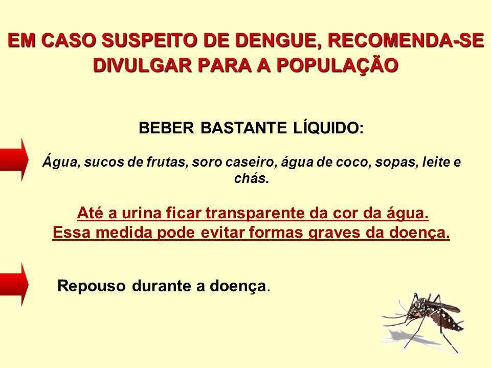 EM CASO SUSPEITO DE DENGUE, RECOMENDA-SE DIVULGAR PARA A POPULAÇÃO