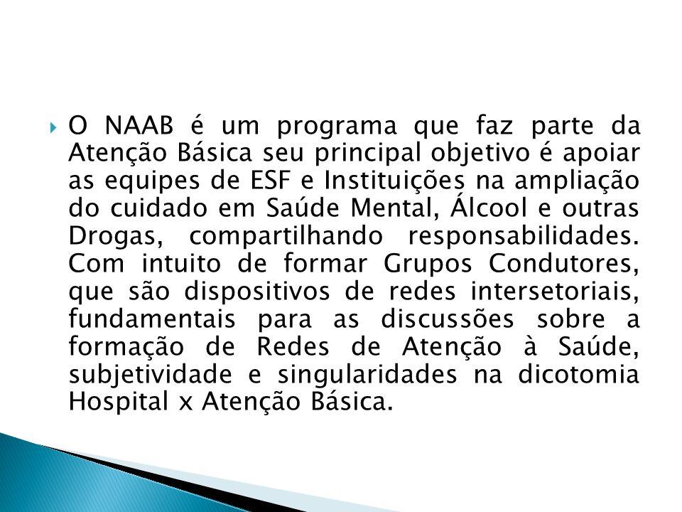 O NAAB é um programa que faz parte da Atenção Básica seu principal objetivo é apoiar as equipes de ESF e Instituições na ampliação do cuidado em Saúde Mental, Álcool e outras Drogas, compartilhando responsabilidades.
