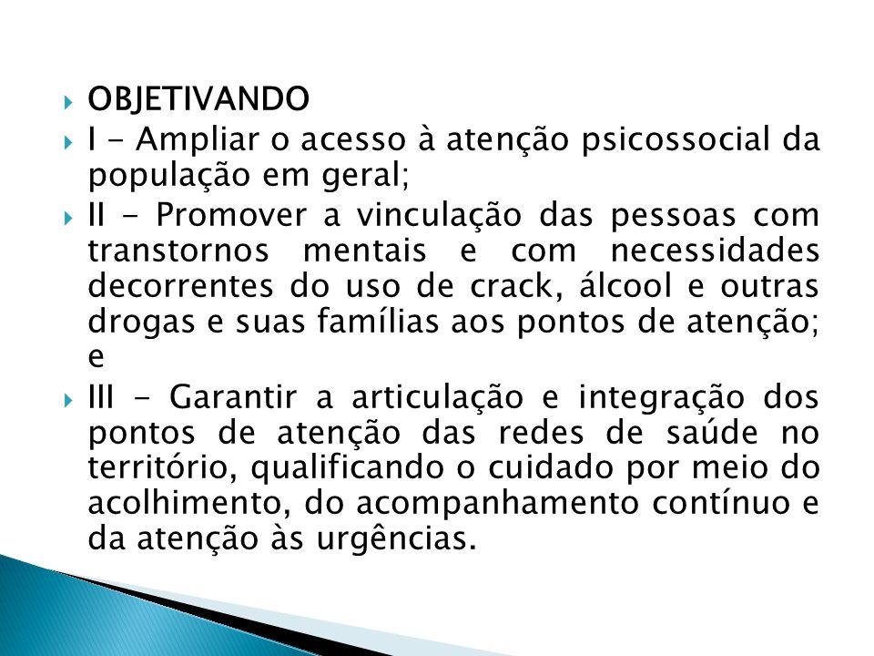 OBJETIVANDO I - Ampliar o acesso à atenção psicossocial da população em geral;