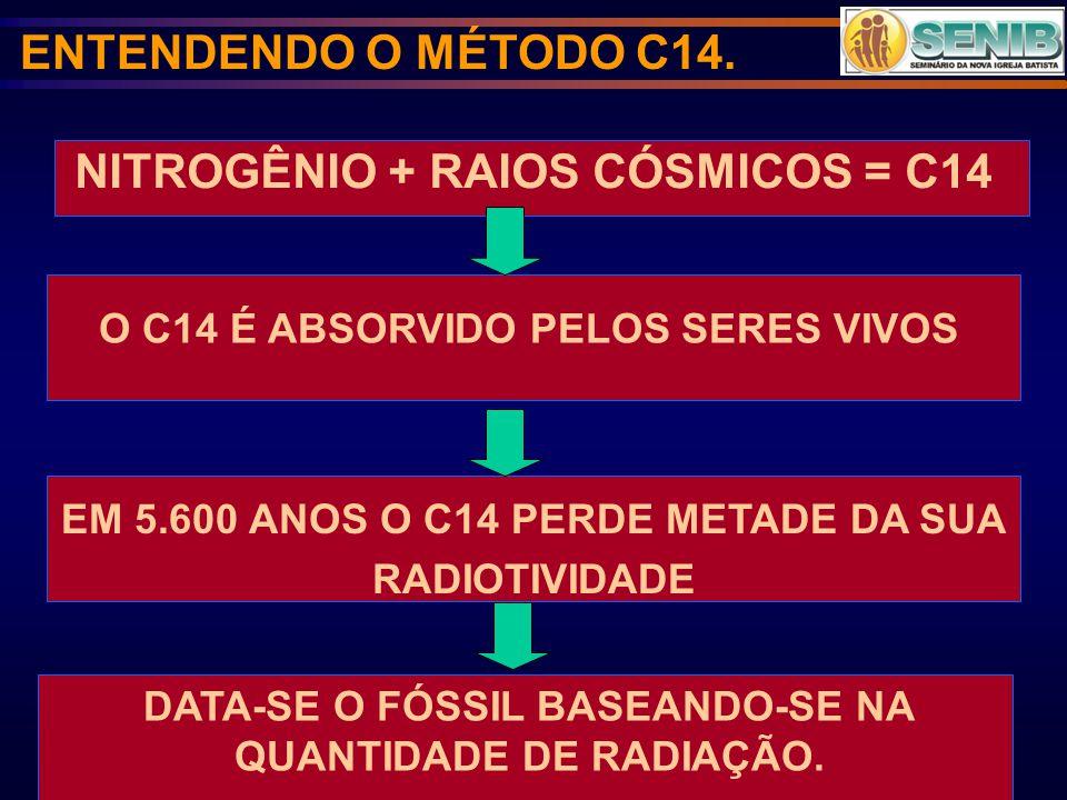 NITROGÊNIO + RAIOS CÓSMICOS = C14
