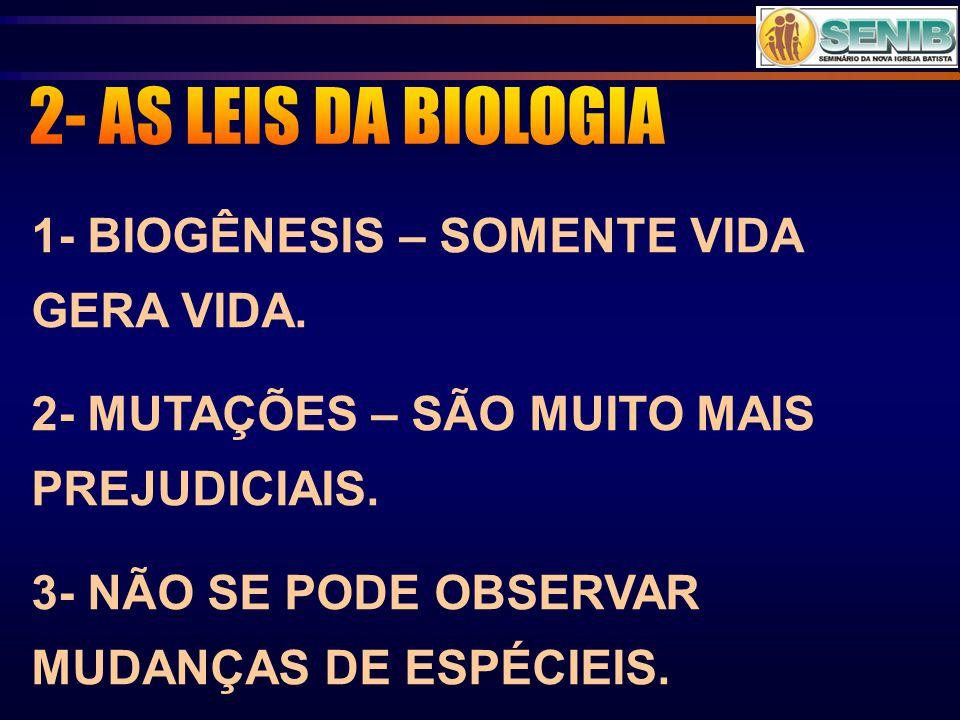 2- AS LEIS DA BIOLOGIA 1- BIOGÊNESIS – SOMENTE VIDA GERA VIDA.