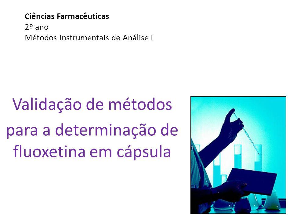 Ciências Farmacêuticas 2º ano Métodos Instrumentais de Análise I