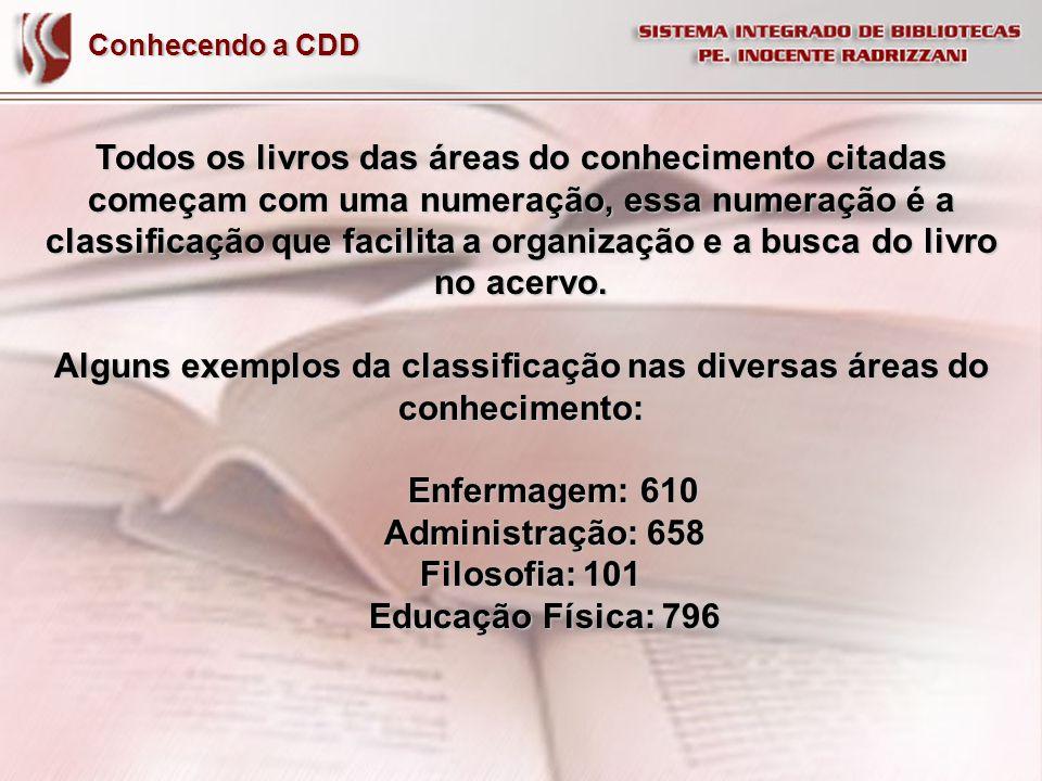 Alguns exemplos da classificação nas diversas áreas do conhecimento: