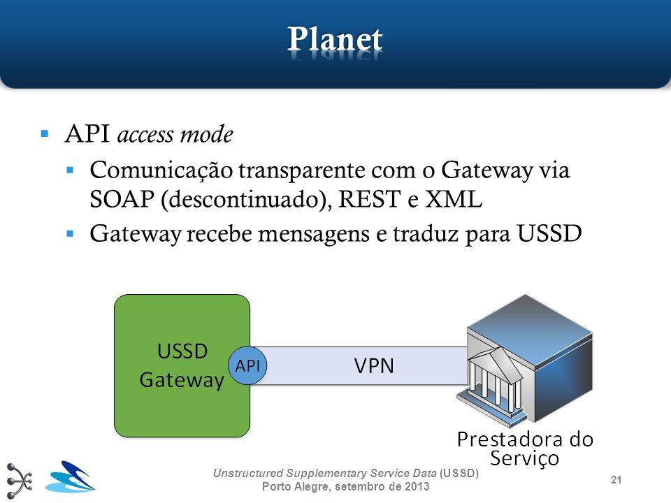 Planet API access mode. Comunicação transparente com o Gateway via SOAP (descontinuado), REST e XML.