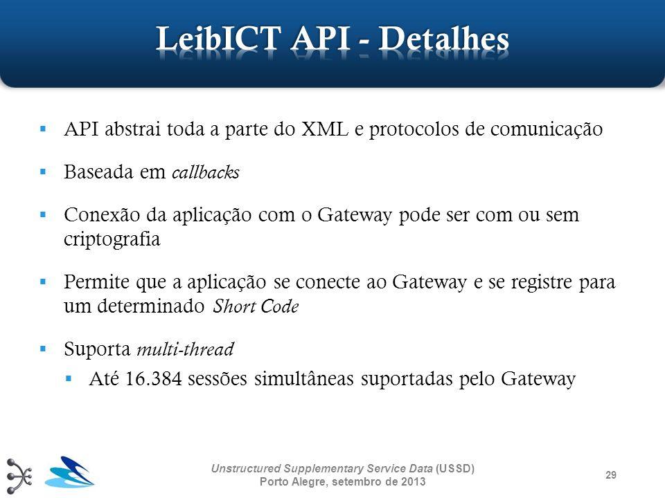 LeibICT API - Detalhes API abstrai toda a parte do XML e protocolos de comunicação. Baseada em callbacks.