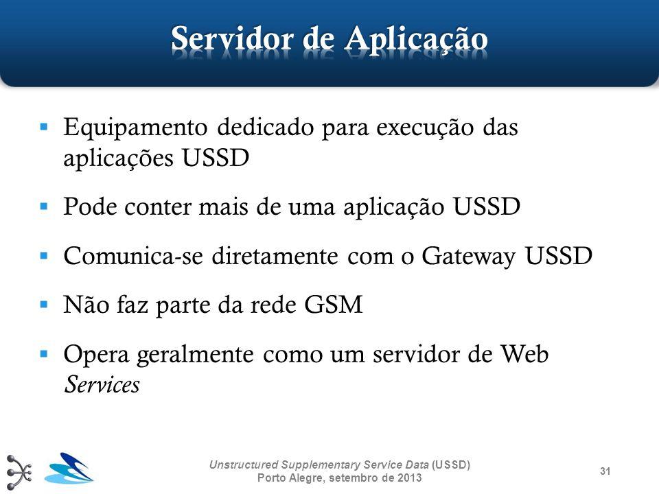 Servidor de Aplicação Equipamento dedicado para execução das aplicações USSD. Pode conter mais de uma aplicação USSD.