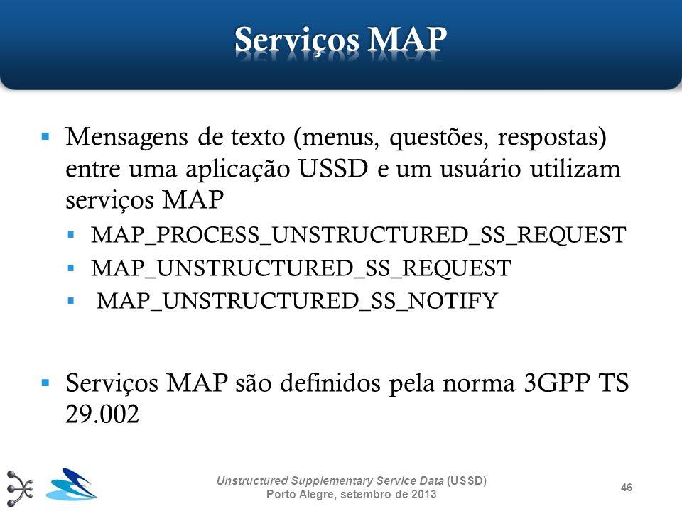 Serviços MAP Mensagens de texto (menus, questões, respostas) entre uma aplicação USSD e um usuário utilizam serviços MAP.
