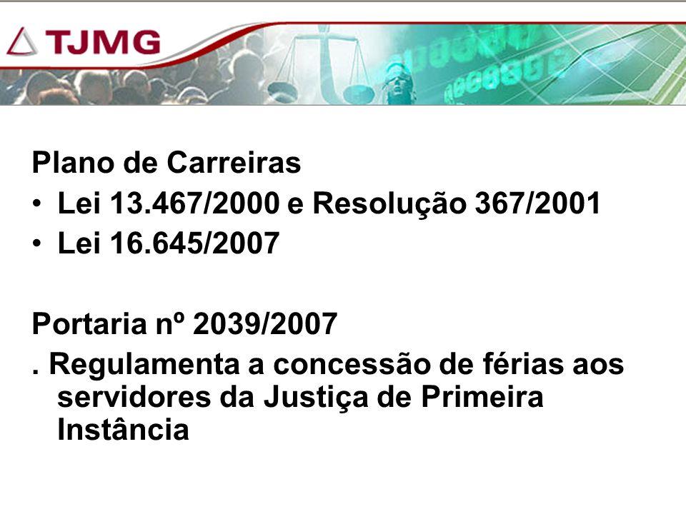 Plano de Carreiras Lei 13.467/2000 e Resolução 367/2001. Lei 16.645/2007. Portaria nº 2039/2007.