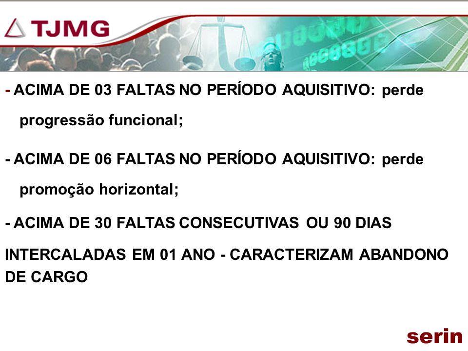 - ACIMA DE 03 FALTAS NO PERÍODO AQUISITIVO: perde