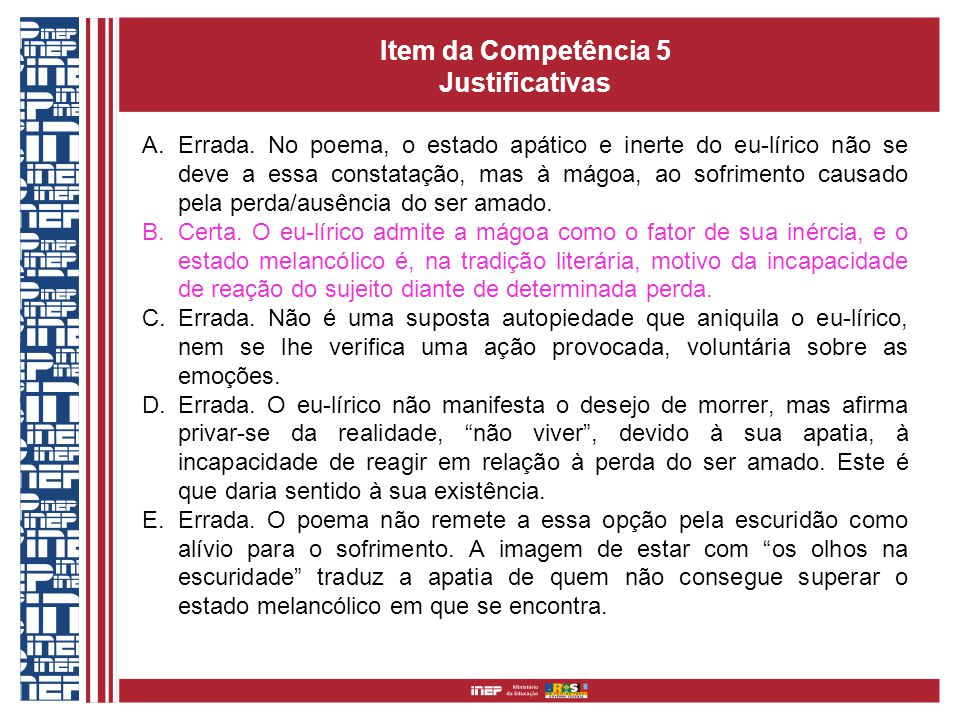 Item da Competência 5 Justificativas