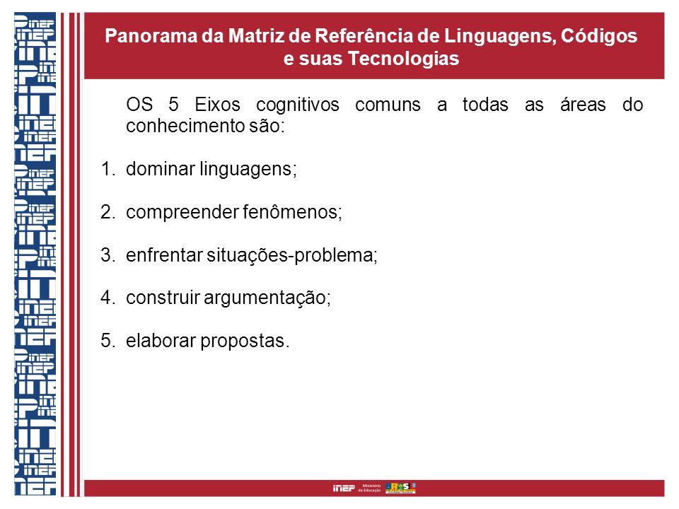 OS 5 Eixos cognitivos comuns a todas as áreas do conhecimento são: