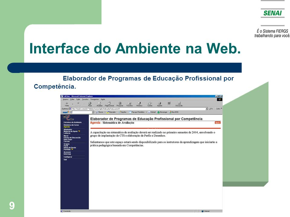 Interface do Ambiente na Web.