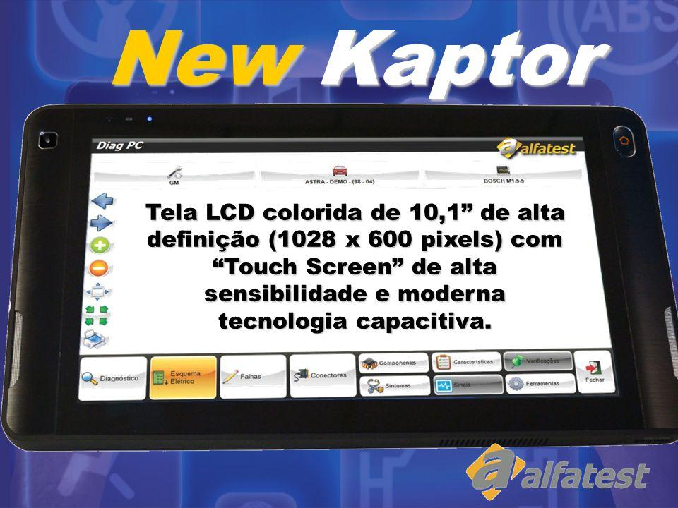 New Kaptor Tela LCD colorida de 10,1 de alta definição (1028 x 600 pixels) com Touch Screen de alta sensibilidade e moderna tecnologia capacitiva.