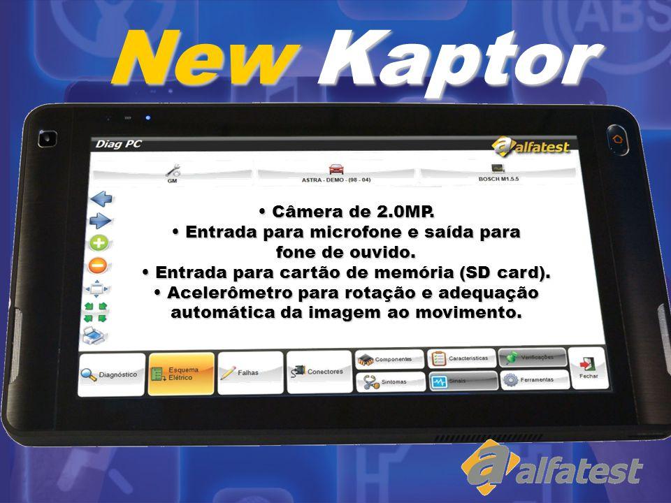 New Kaptor Câmera de 2.0MP. Entrada para microfone e saída para fone de ouvido. Entrada para cartão de memória (SD card).