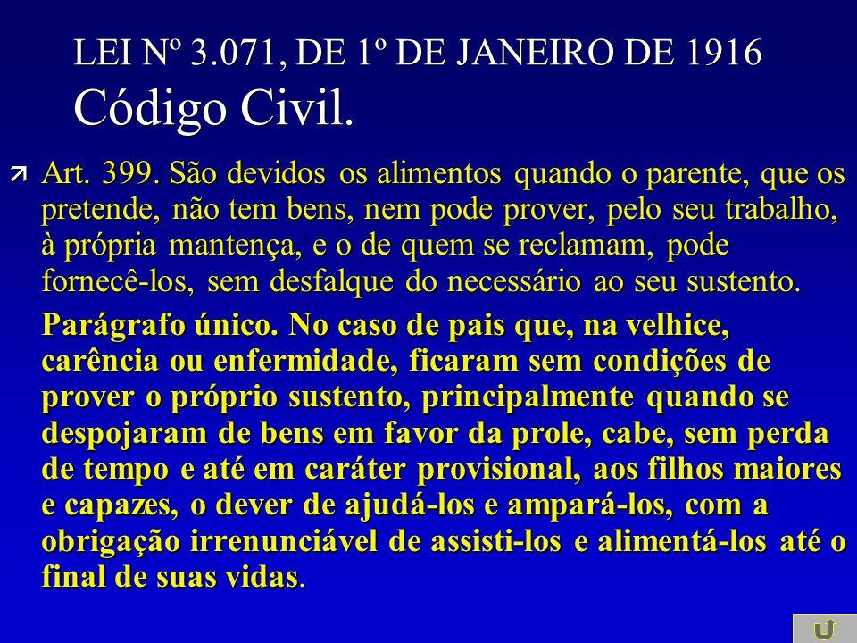 LEI Nº 3.071, DE 1º DE JANEIRO DE 1916 Código Civil.