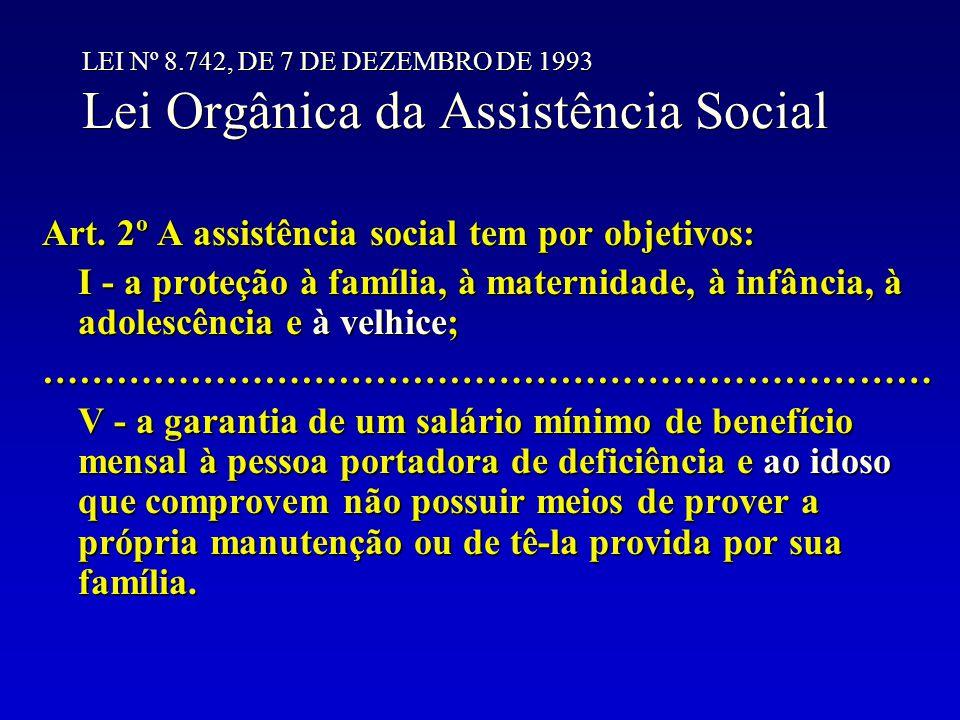 Art. 2º A assistência social tem por objetivos: