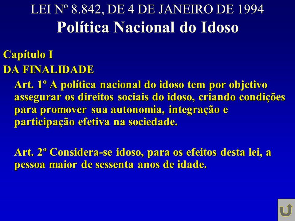 LEI Nº 8.842, DE 4 DE JANEIRO DE 1994 Política Nacional do Idoso