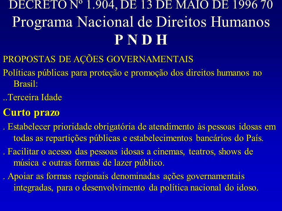 DECRETO Nº 1.904, DE 13 DE MAIO DE 1996 70 Programa Nacional de Direitos Humanos P N D H