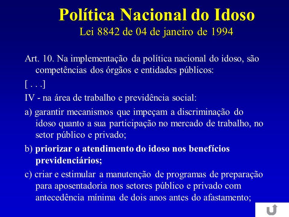Política Nacional do Idoso Lei 8842 de 04 de janeiro de 1994