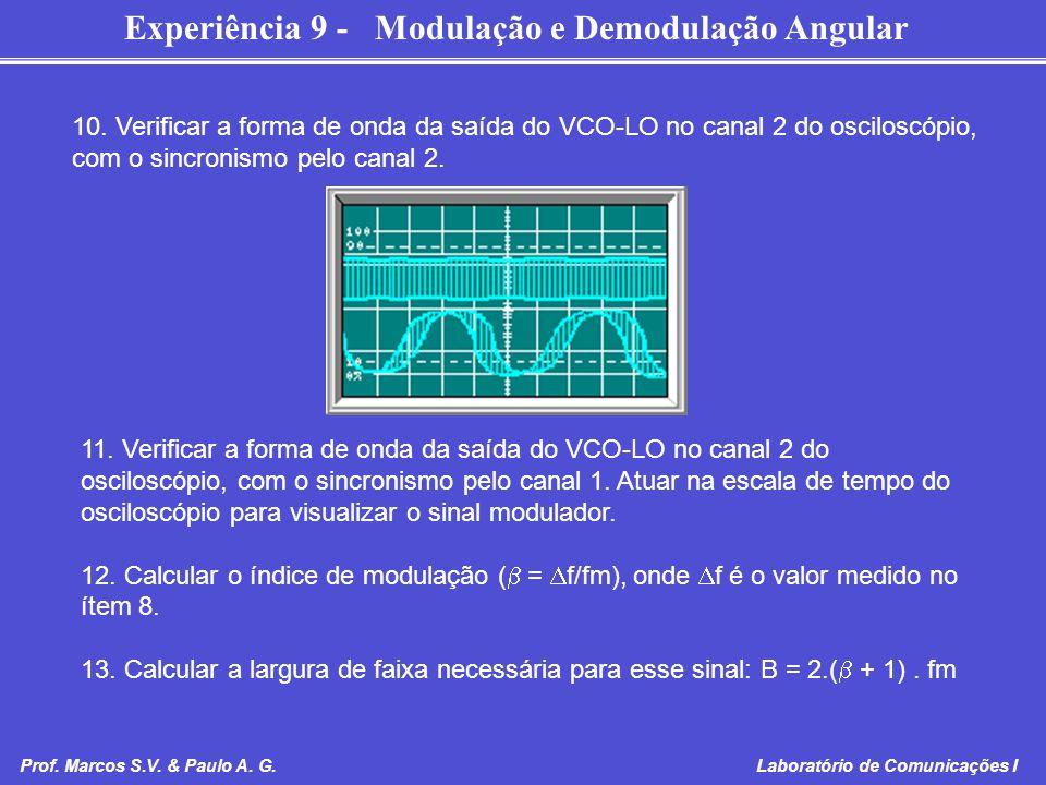 10. Verificar a forma de onda da saída do VCO-LO no canal 2 do osciloscópio, com o sincronismo pelo canal 2.