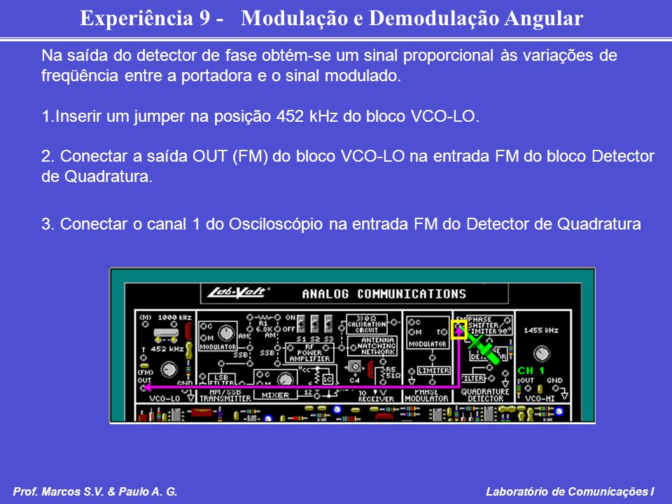 Inserir um jumper na posição 452 kHz do bloco VCO-LO.