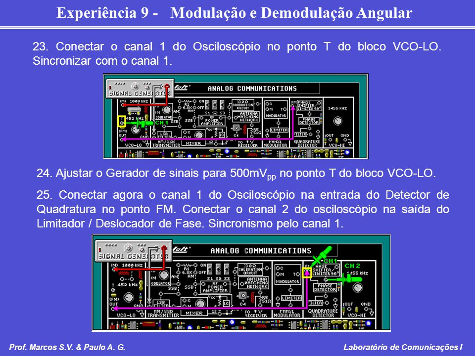 23. Conectar o canal 1 do Osciloscópio no ponto T do bloco VCO-LO