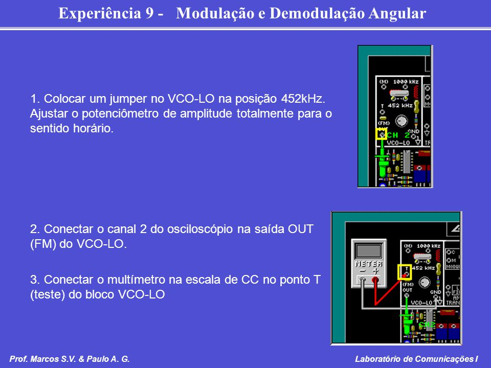 2. Conectar o canal 2 do osciloscópio na saída OUT (FM) do VCO-LO.