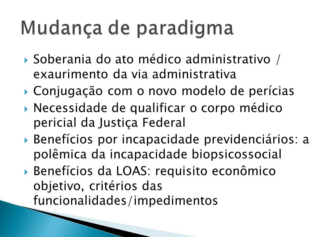Mudança de paradigma Soberania do ato médico administrativo / exaurimento da via administrativa. Conjugação com o novo modelo de perícias.