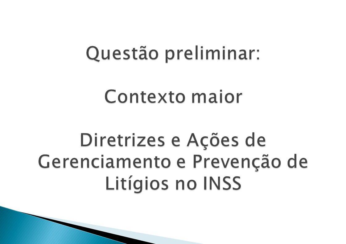 Questão preliminar: Contexto maior Diretrizes e Ações de Gerenciamento e Prevenção de Litígios no INSS