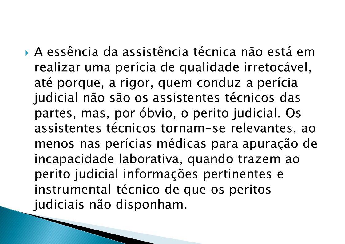 A essência da assistência técnica não está em realizar uma perícia de qualidade irretocável, até porque, a rigor, quem conduz a perícia judicial não são os assistentes técnicos das partes, mas, por óbvio, o perito judicial.