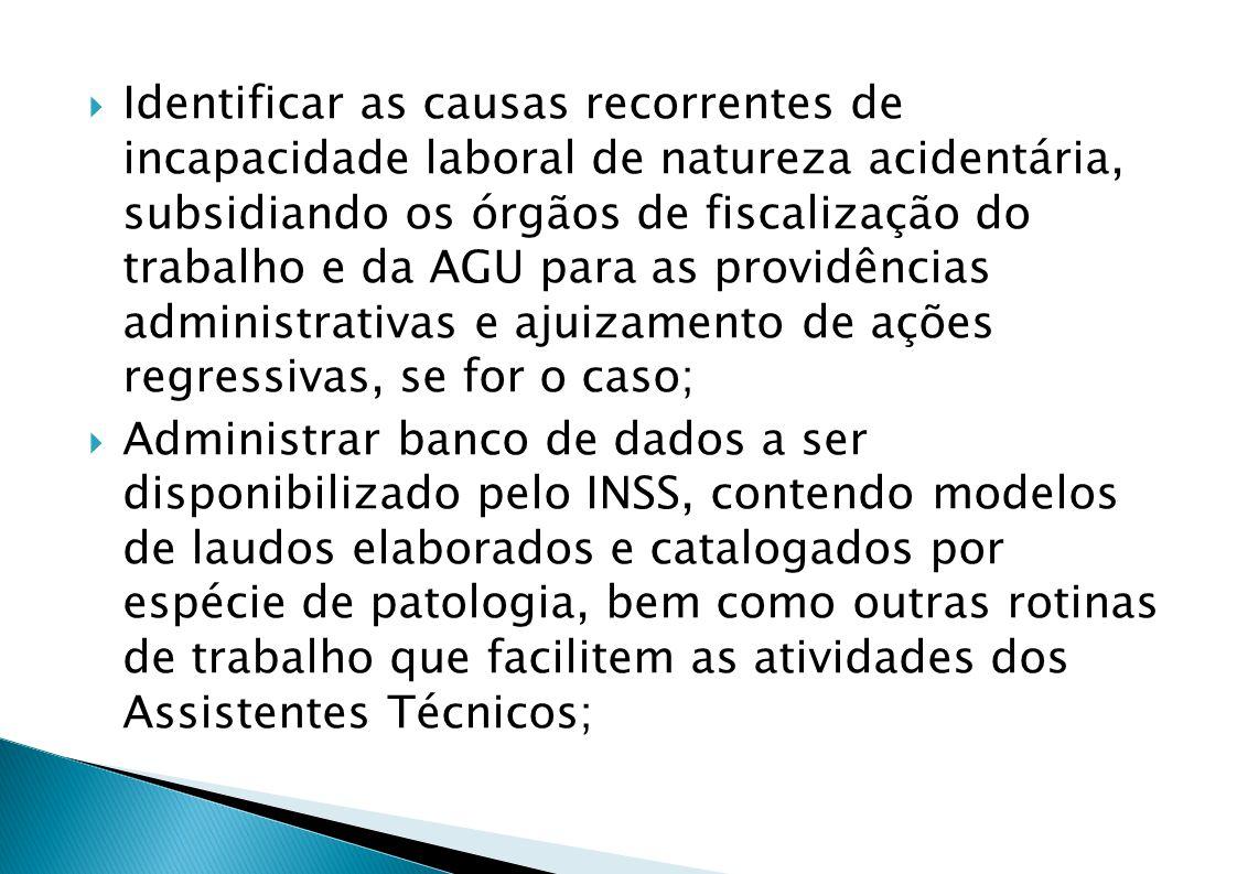 Identificar as causas recorrentes de incapacidade laboral de natureza acidentária, subsidiando os órgãos de fiscalização do trabalho e da AGU para as providências administrativas e ajuizamento de ações regressivas, se for o caso;