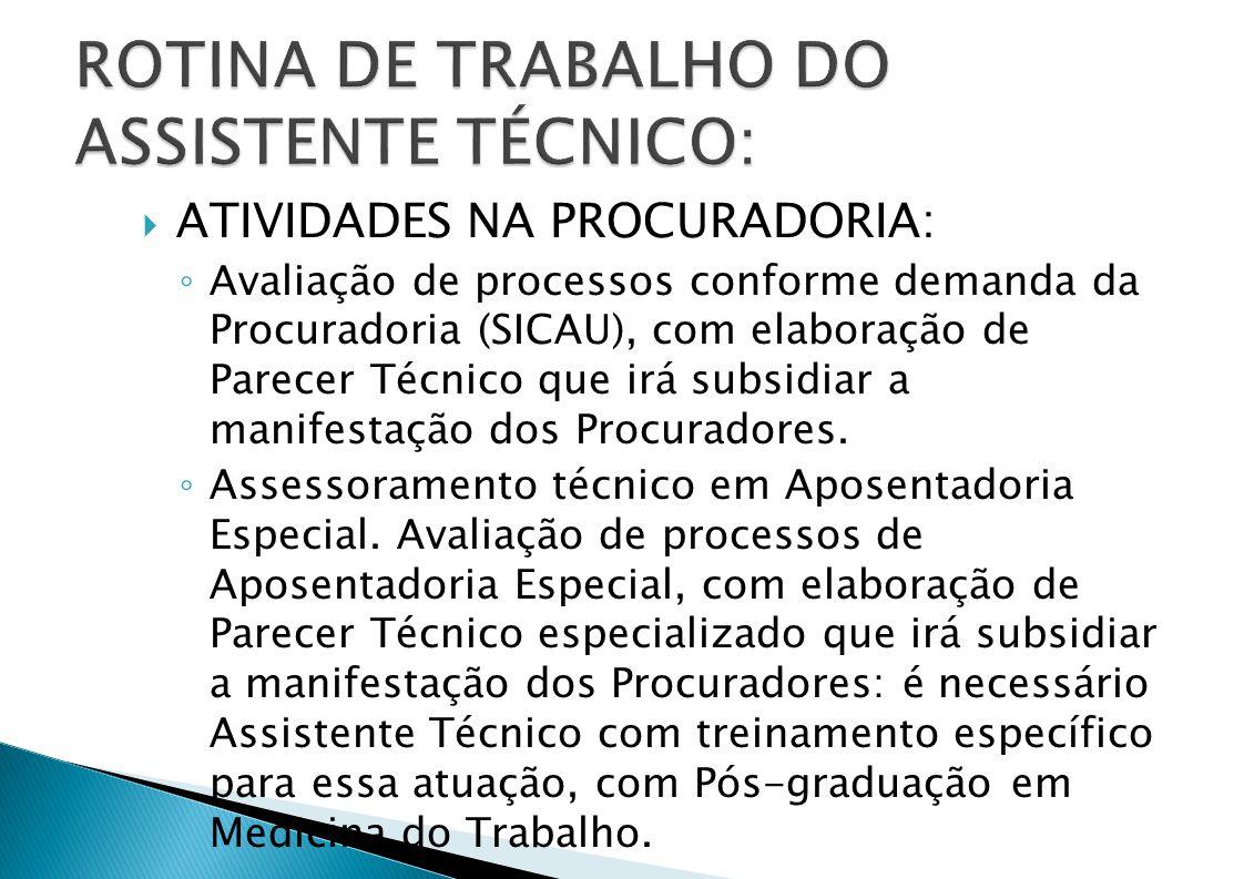 ROTINA DE TRABALHO DO ASSISTENTE TÉCNICO: