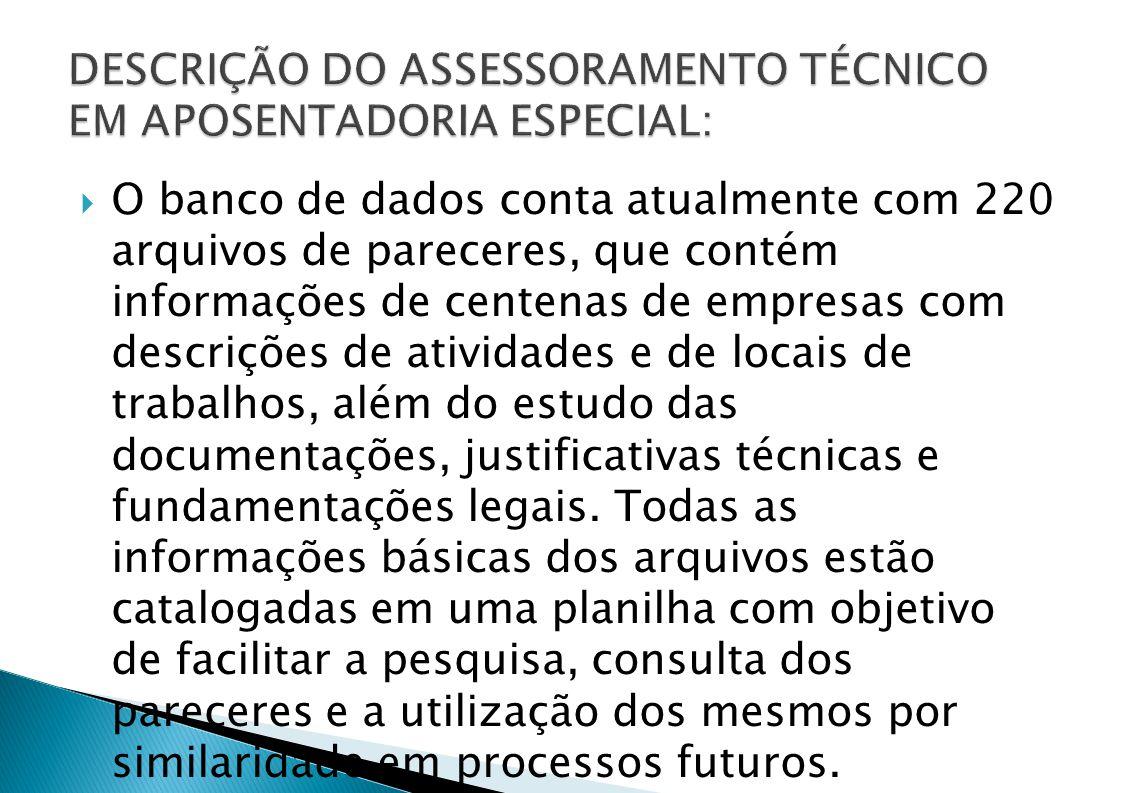 DESCRIÇÃO DO ASSESSORAMENTO TÉCNICO EM APOSENTADORIA ESPECIAL: