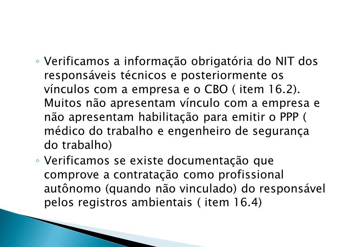 Verificamos a informação obrigatória do NIT dos responsáveis técnicos e posteriormente os vínculos com a empresa e o CBO ( item 16.2). Muitos não apresentam vínculo com a empresa e não apresentam habilitação para emitir o PPP ( médico do trabalho e engenheiro de segurança do trabalho)