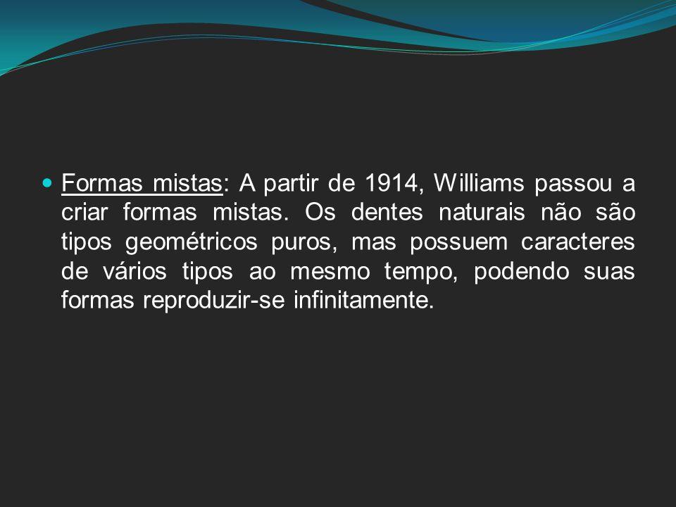 Formas mistas: A partir de 1914, Williams passou a criar formas mistas