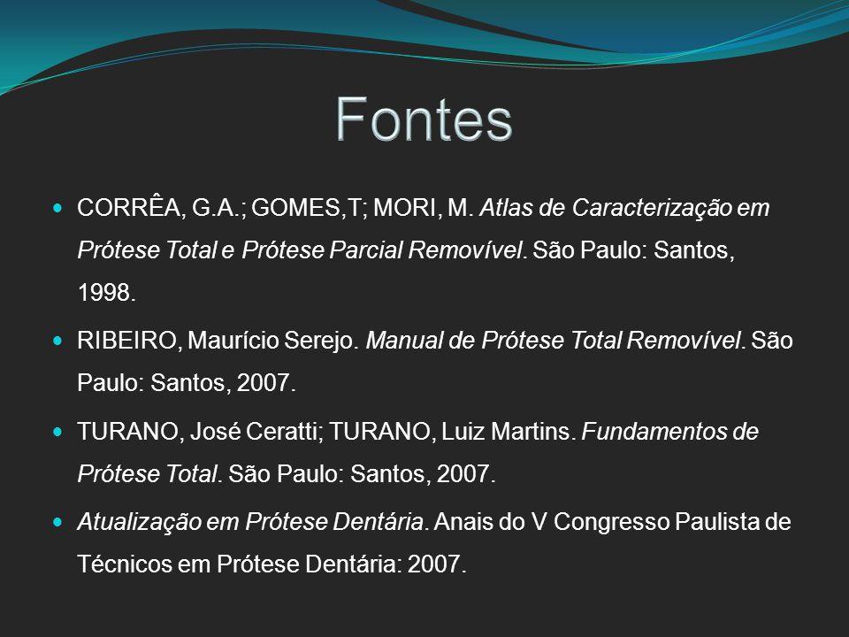 Fontes CORRÊA, G.A.; GOMES,T; MORI, M. Atlas de Caracterização em Prótese Total e Prótese Parcial Removível. São Paulo: Santos, 1998.