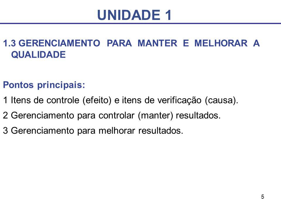 UNIDADE 1 1.3 GERENCIAMENTO PARA MANTER E MELHORAR A QUALIDADE
