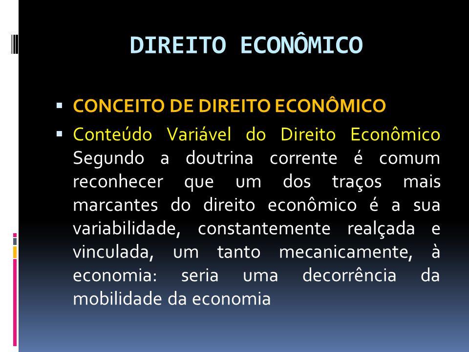 DIREITO ECONÔMICO CONCEITO DE DIREITO ECONÔMICO
