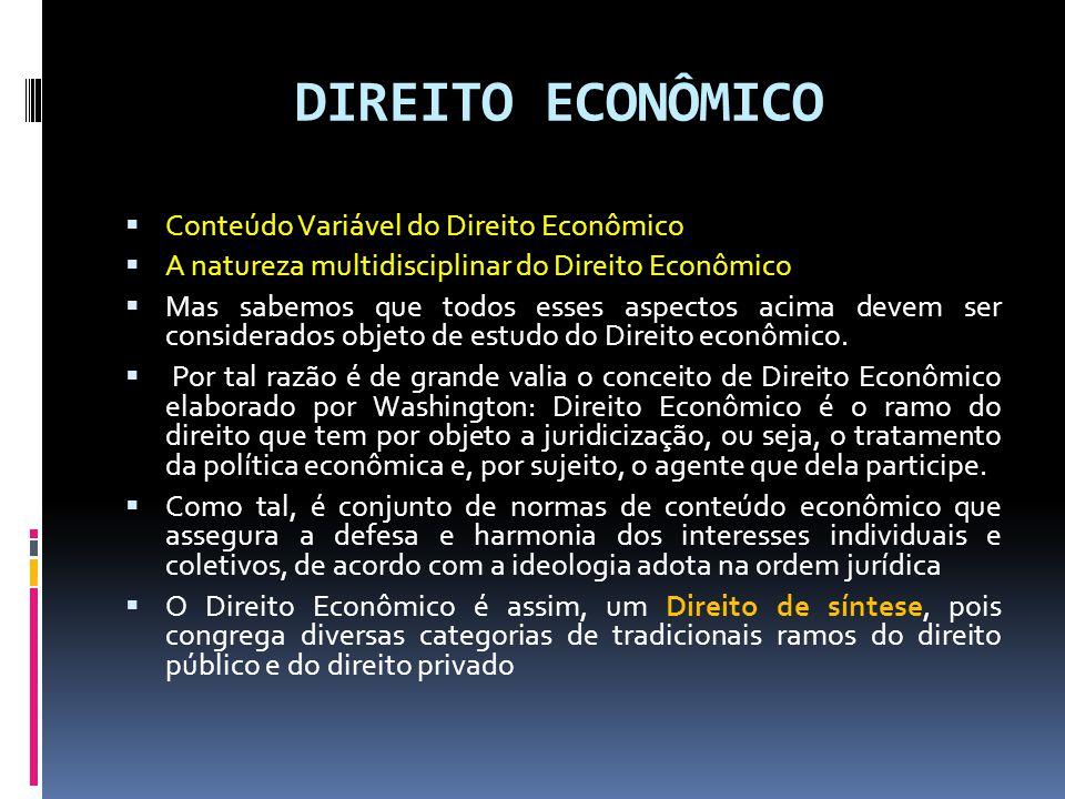 DIREITO ECONÔMICO Conteúdo Variável do Direito Econômico