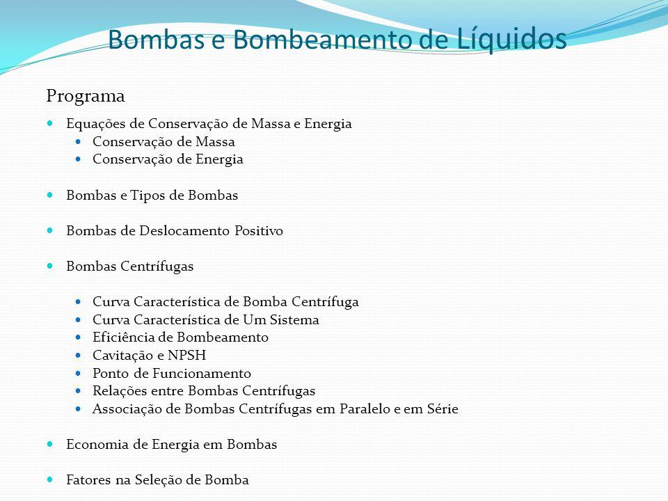 Bombas e Bombeamento de Líquidos