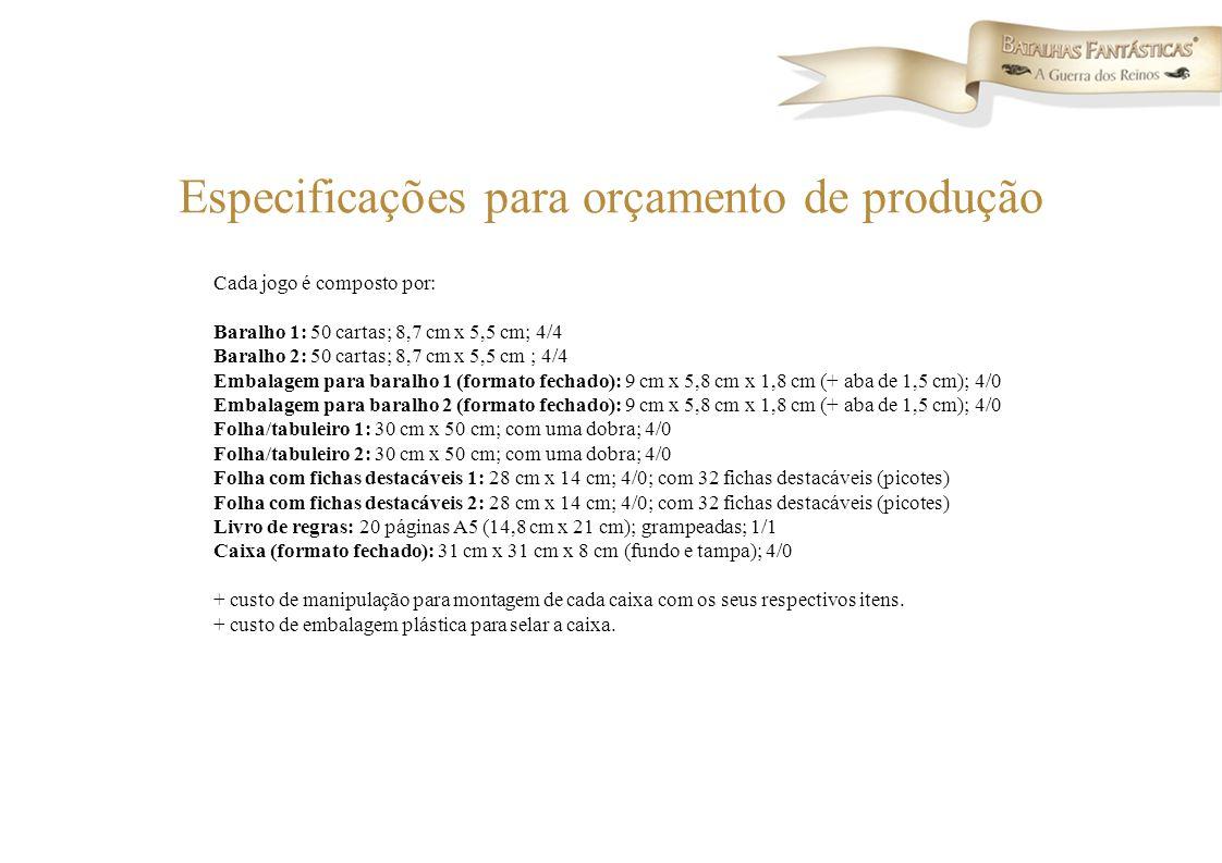 Especificações para orçamento de produção