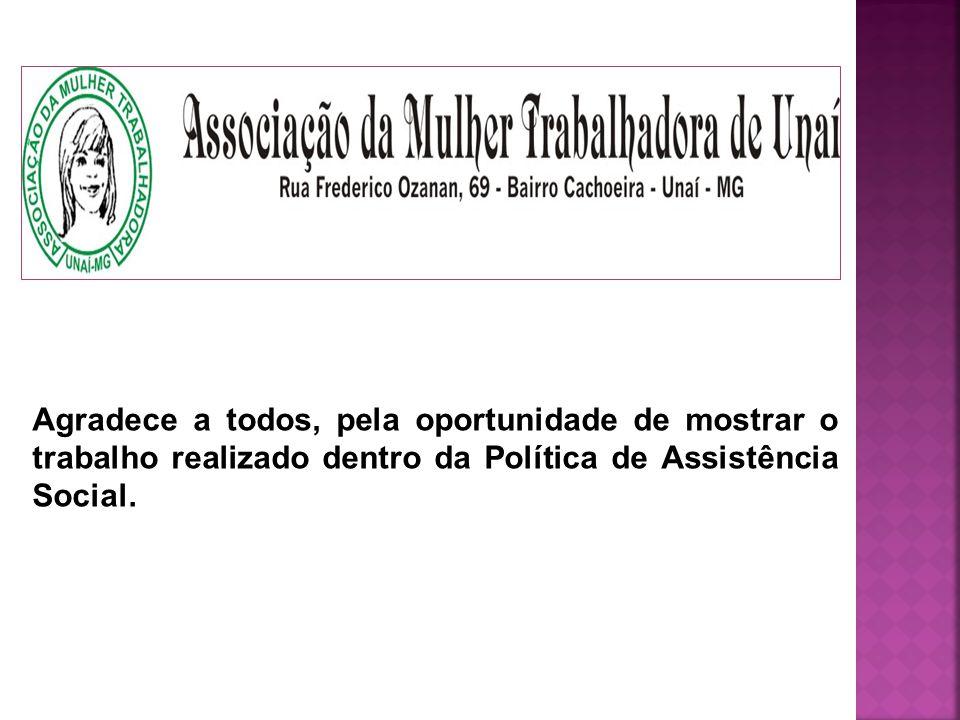 Agradece a todos, pela oportunidade de mostrar o trabalho realizado dentro da Política de Assistência Social.