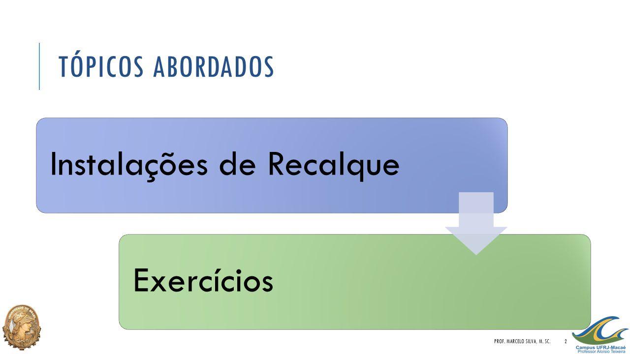 Tópicos Abordados Prof. Marcelo Silva, M. Sc. Instalações de Recalque