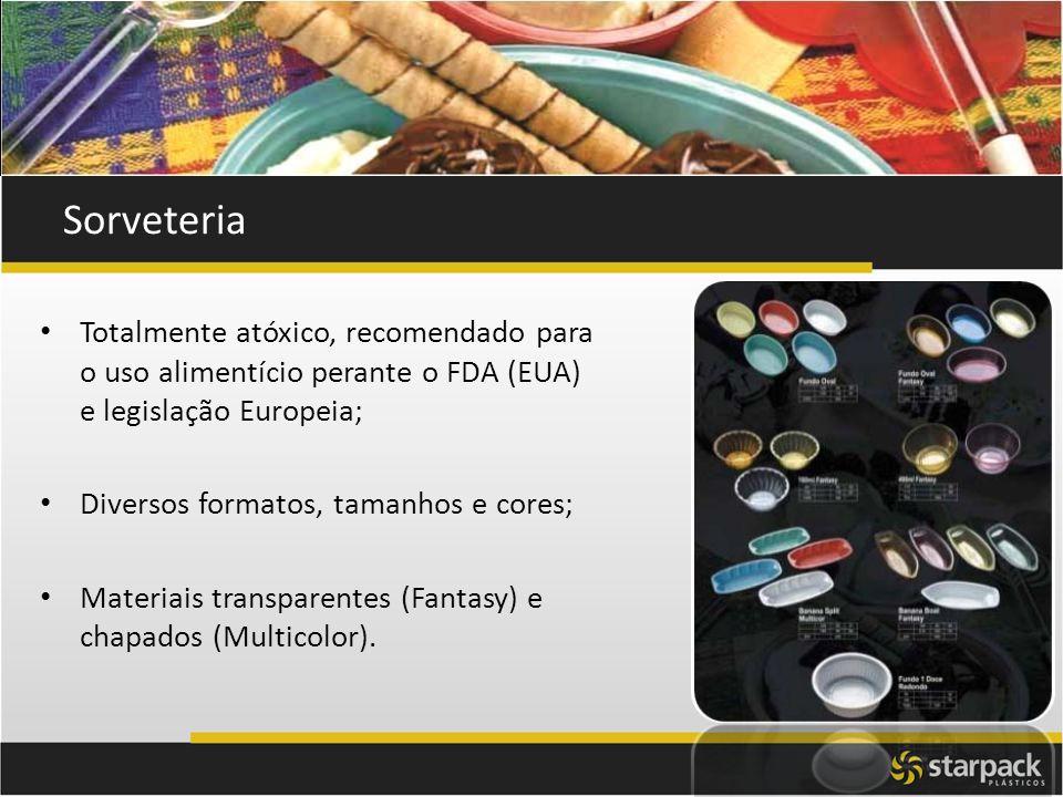 Sorveteria Totalmente atóxico, recomendado para o uso alimentício perante o FDA (EUA) e legislação Europeia;